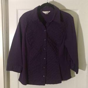 Christopher & Banks Button Shirt Purple SZ  L
